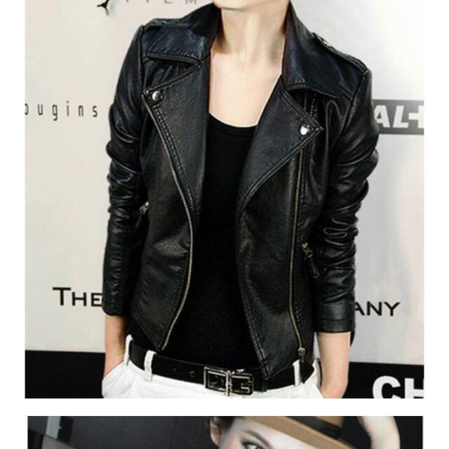 黑色皮衣外套