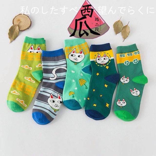 ::拼色貓棉襪
