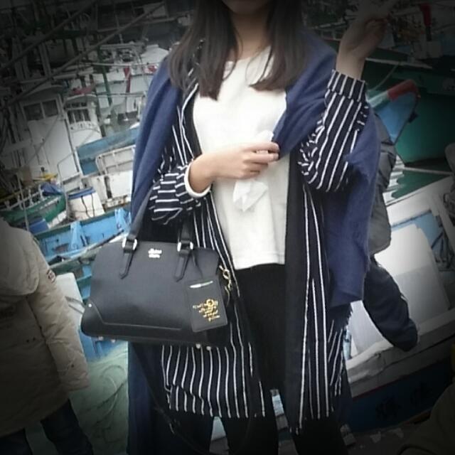 條紋長版外套