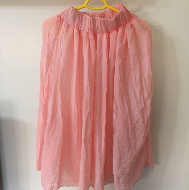 粉橘色紗裙