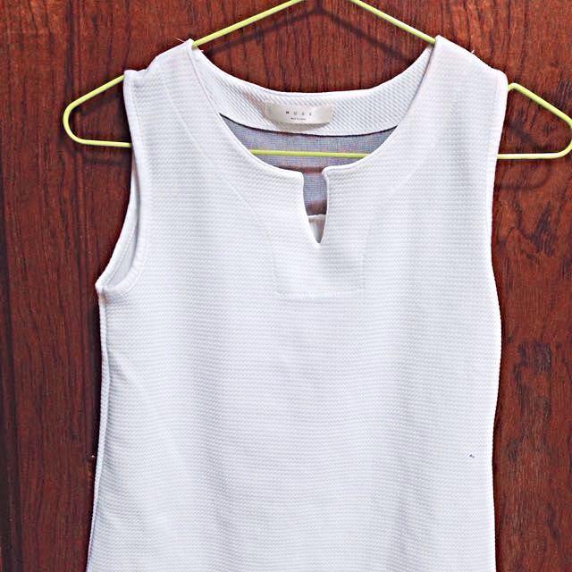 白色棉質透紗背心