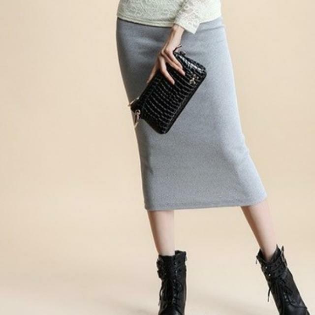 螺紋 開叉窄裙