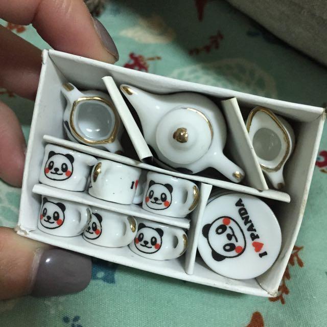 迷你家飾 熊貓 茶壺 盤子 茶杯 茶具組