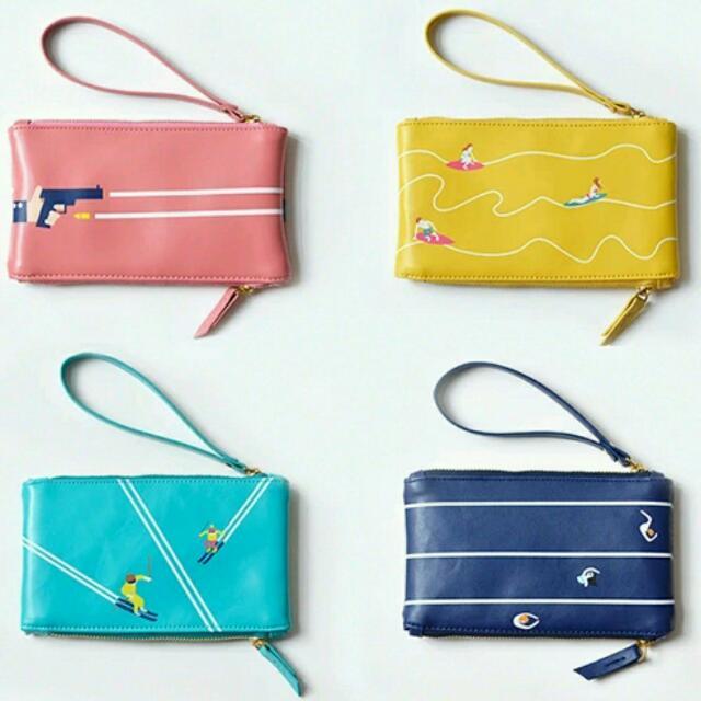 全新 Yizi 雙拉鍊皮革質感手提包/手機包👍運動系列