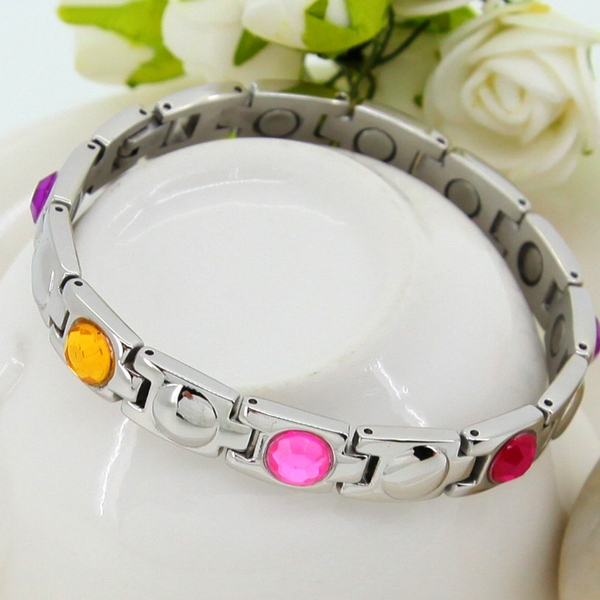 Fashion Stainless Steel Magnetic Health Energy Bracelet NL8043 - Relieve Stress, Improve Blood Circulation, More Restful Sleep and Pain Relief.
