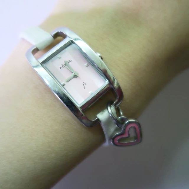 FOSSIL 粉紅愛心掛飾女錶
