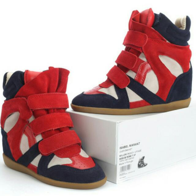 a49ed3dcf3 Isabel Marant Suede High Top Wedge Sneakers Red Navy, Luxury on ...