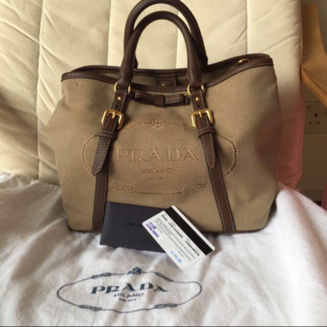 Prada Sling Hand Carry Bag Logo Jacquard Bn1841