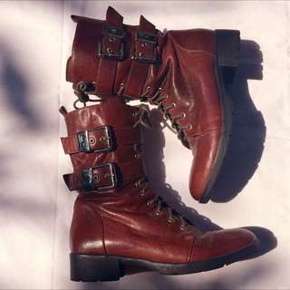 Stacatto Brown Buckle Boots