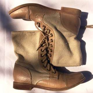 Pull And Bear Canvas Boots