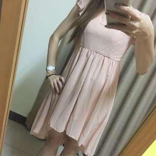 全短後長 粉橘色雪紡長裙 全新