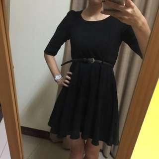 全新黑色七分洋裝