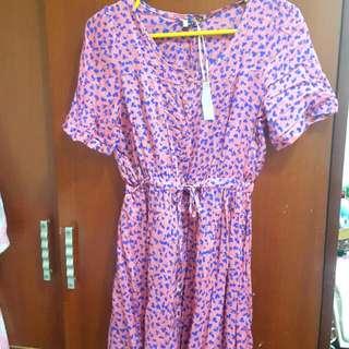 (全新泰國購入)速乾粉紅小愛心縮腰小洋裝
