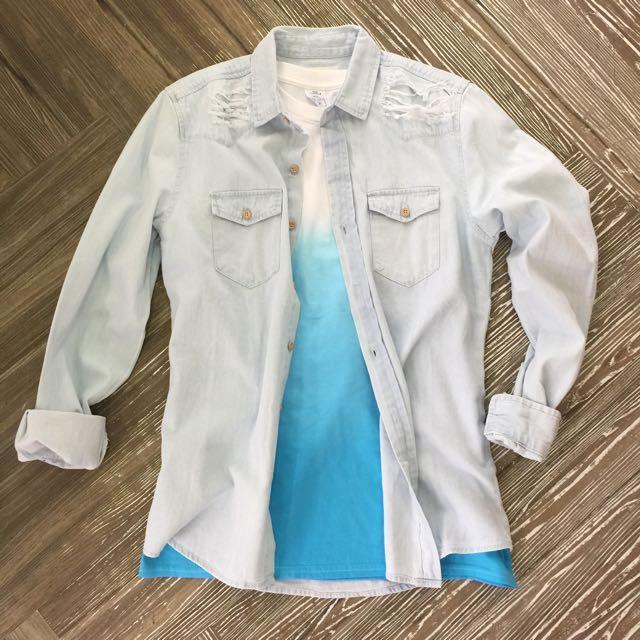 刷白牛仔襯衫