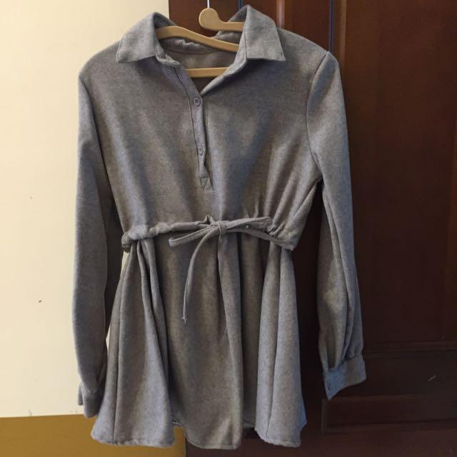 全新!灰色綁帶洋裝 購於日本🇯🇵