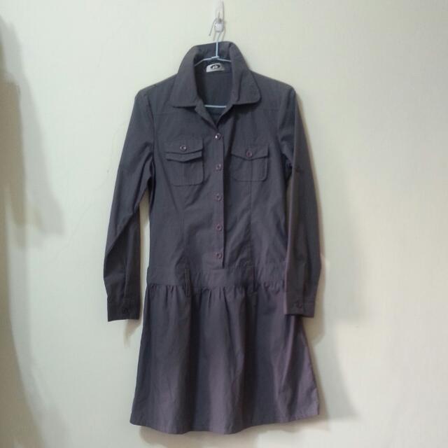 鐵灰色卡其布長袖襯衫洋裝