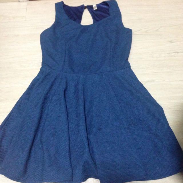 ⭐️💦寶藍超美挖洞洋裝
