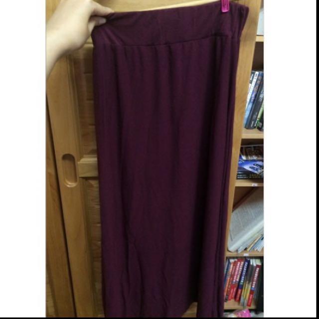 (含運)全新酒紅色棉質長裙