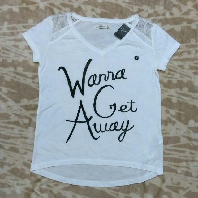 A&F abercrombie & fitch 蕾絲 短袖 T恤 上衣