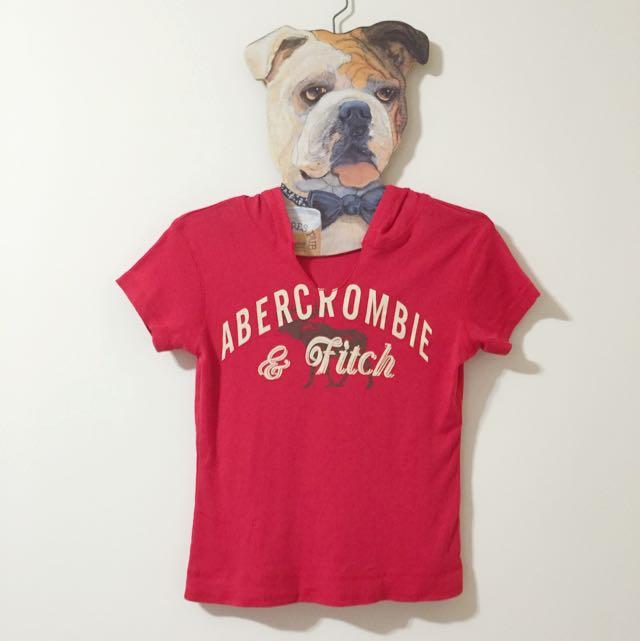 A&F 連帽 T 恤,紅,二手