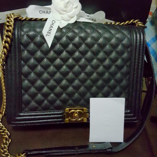 efb27d708878 Chanel Large Black Caviar Leboy 30cm Gold Ruthenium Hardware/chain, Luxury  on Carousell