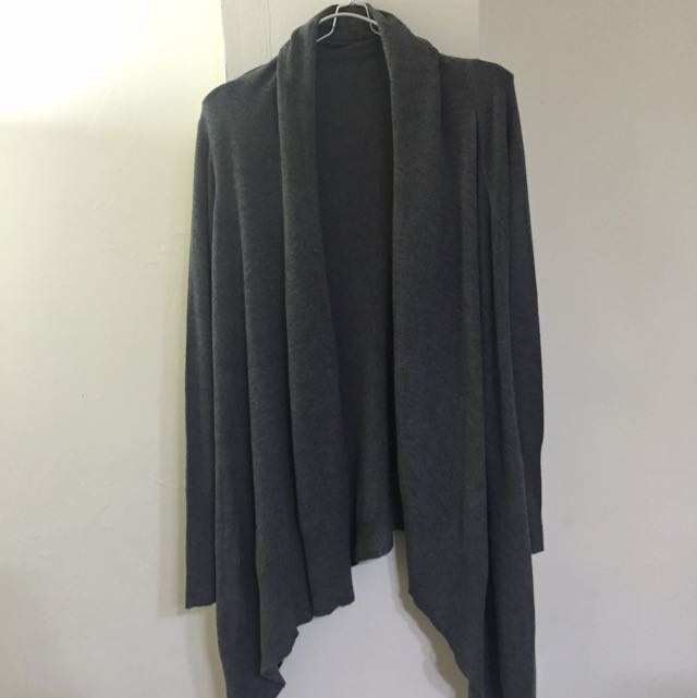 (瑕疵)Net 不規則下擺灰色針織罩衫