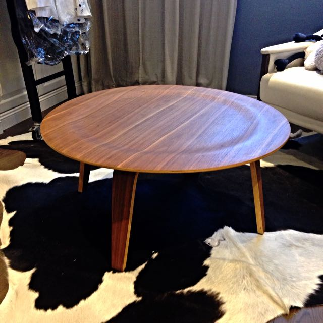 Picket and Rail Eames Madeira Molded Plywood Replica Round Coffee