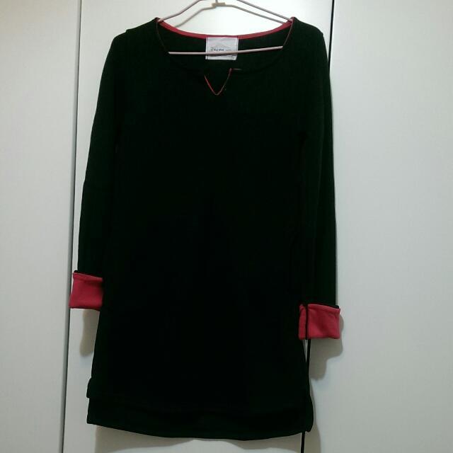 【降📣免運🎉全新】韓版v領針織桃紅配色舖棉洋裝
