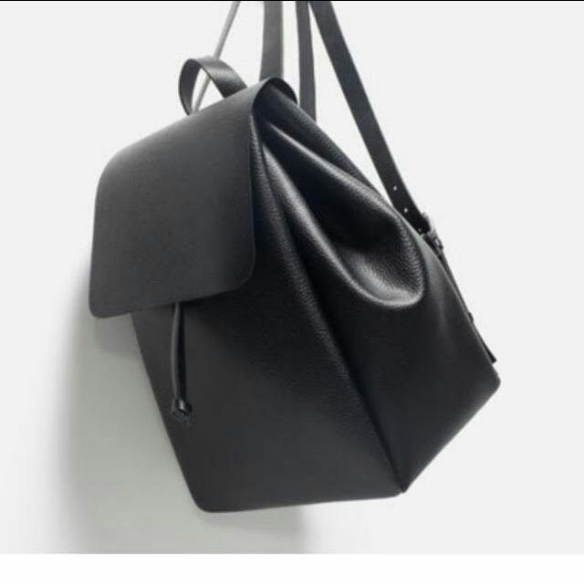 #含運#Zara簡約黑色後背包