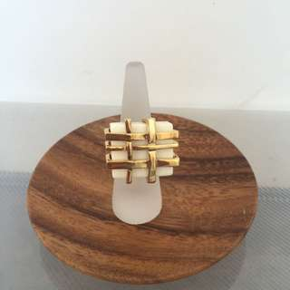 Statement Ring - Oversized White and Gold coloured Lattice  Ring