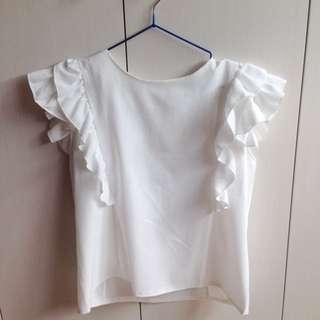 [二手/九成新✨]白色荷葉邊袖上衣