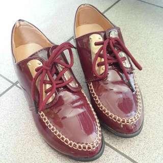 含運 復古 鐵片 酒紅 牛津鞋