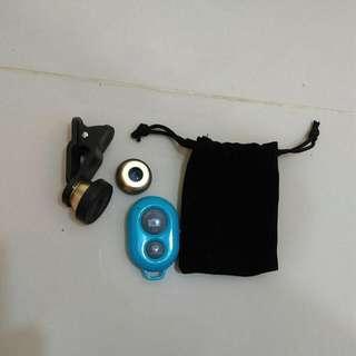 廣角、微聚、魚眼鏡頭(三合一)、藍牙無線遙控器
