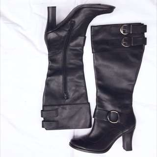 Style & Co Black Leather Boots (never Worn)