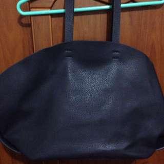 Zara真皮深藍色包包