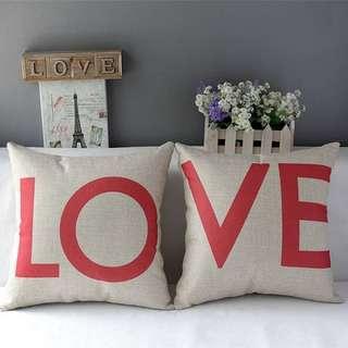 簡約自然風方形棉麻LOVE系列抱枕(含枕芯)/枕套/枕芯/枕頭/靠枕