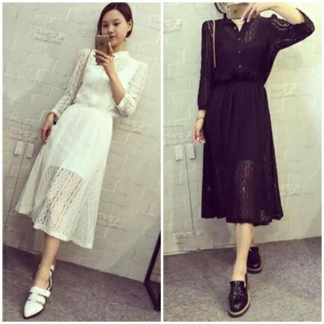 預購+現貨*免運 🌸秋裝新款蕾絲連衣裙兩件套(兩色)