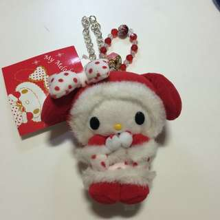 My Melody Plush With Crystals And Japanese Flower Bell Handbag Charm