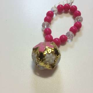 Japanese Flower Bell With Beads And Swarovski Crystals Handphone Charm