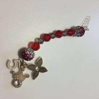 Handphone Charm With Beads And Swarovski  Crystals