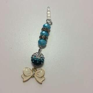 Ribbon With Swarovski Crystal With Beads Handphone Charm