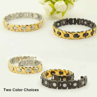 Fashion Stainless Steel Magnetic Health Energy Bracelet NL8005 - Relieve Stress, Improve Blood Circulation, More Restful Sleep and Pain Relief.
