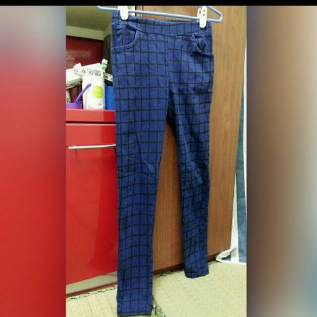 格子鉛筆褲