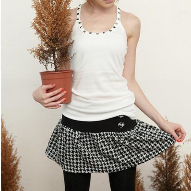 黑白千鳥格紋棉質短裙