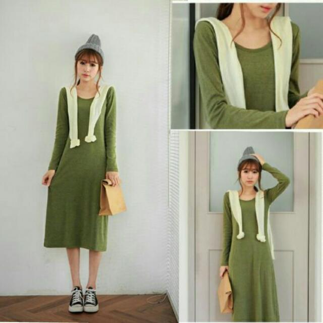👒正韓素面軍綠長洋裝