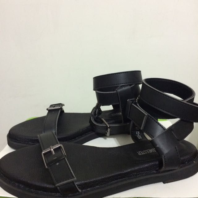 全新✨歐美風黑色繞踝涼鞋 37/23.5