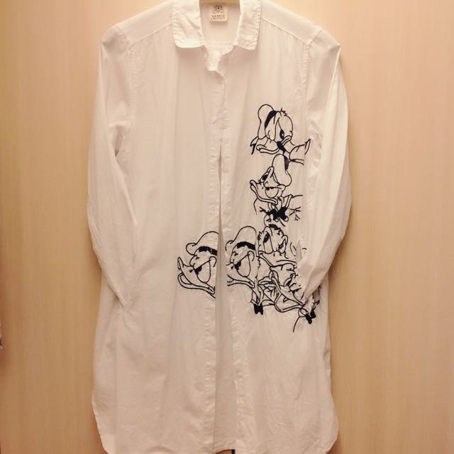 正韓 俐落穿搭 唐老鴨 口袋長版純白襯衫