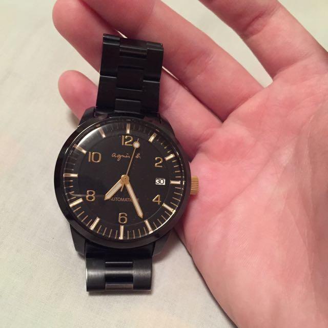 agnes b. 黑鋼 自動機械錶