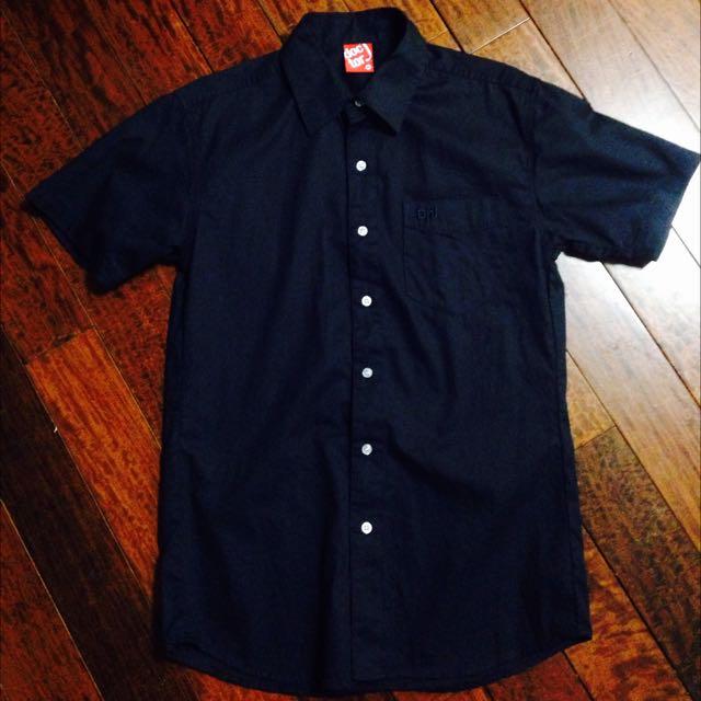 (降)doc tor J 短袖 深藍色襯衫