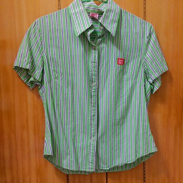 doctor J 短版綠色條紋襯衫